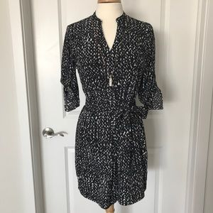[express] geo print belted button up shirt dress